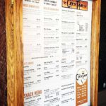The menu board for the City Tap.