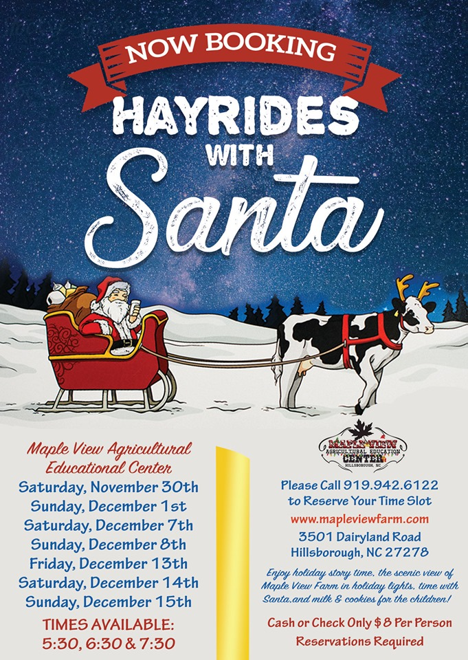hayrides with Santa poster