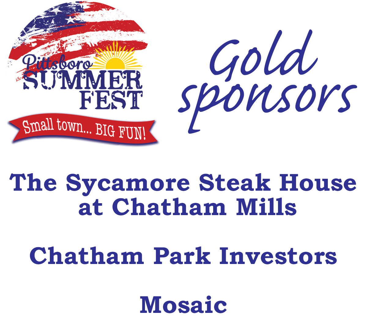 Summer Fest 2021 Gold sponsors